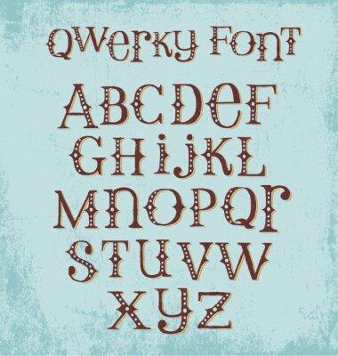 Poster carattere mano eccentrico epoca disegnato con lettere maiuscole e minuscole miste