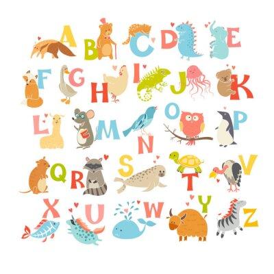 Poster Carino vettore zoo alfabeto. gli animali dei cartoni animati divertenti. Illustrazione vettoriale EPS10 isolato su sfondo bianco. Lettere. Imparare a leggere