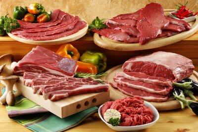 Poster carne di manzo cruda assortiti