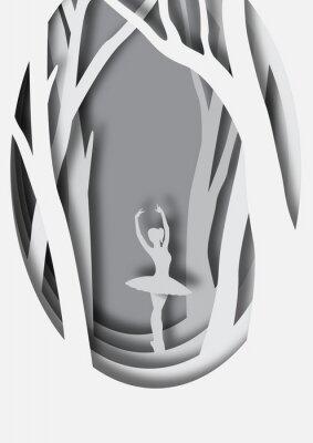Poster Carta artistica intaglio di ballerina
