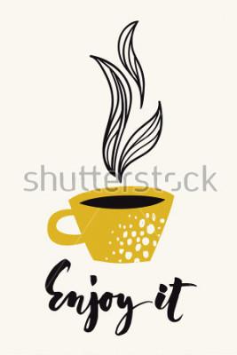 Poster Carta di calligrafia autunnale con tazza di caffè o tè. Godetevi il testo calligrafico. Disegno astratto vettoriale Poster o carta colorata progettato per qualsiasi tipo di supporto di stampa. Colore
