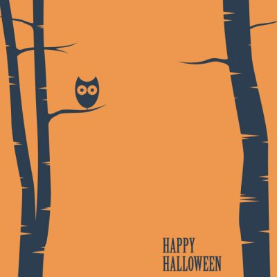Poster Carta Happy halloween con gufo seduta su un albero. Cartolina vacanze