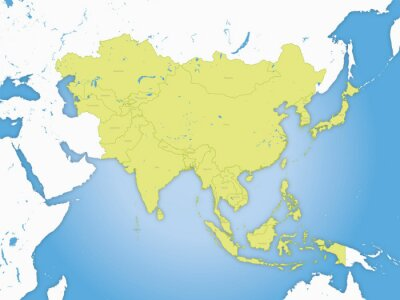 Poster Carte Asie, frontières et fleuve