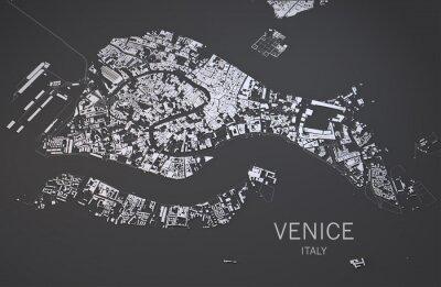 Poster Cartina di Venezia, Italia, vista satellitare, 3d Mappa