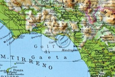 Cartina Topografica Del Lazio.Cartina Geografica Del Lazio Golfo Di Gaeta Manifesti Da Muro Poster Mondragone Ponza Sperlonga Myloview It