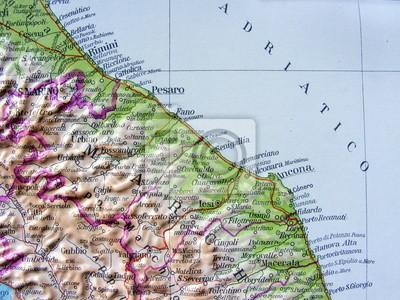 Cartina Topografica Marche.Cartina Geografica Delle Marche Manifesti Da Muro Poster Senigallia Fano Pesaro Myloview It