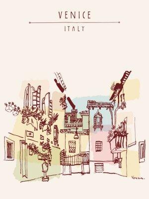 Poster cartolina disegnato Venezia Italia Europa mano d'epoca
