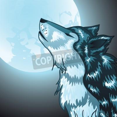 Cartone animato stilizzato testa grigia del lupo ululando lupo