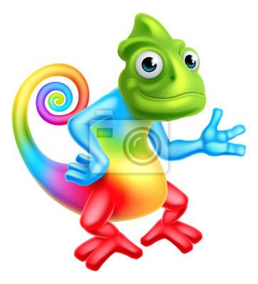 Poster Cartoon Arcobaleno Chameleon