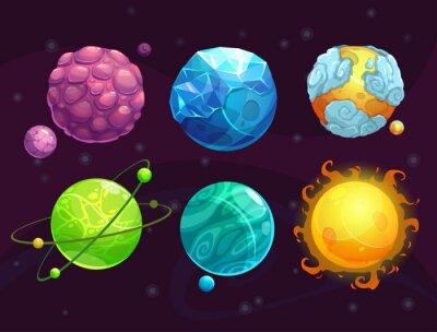 Poster Cartoon fantasia pianeti alieni impostati