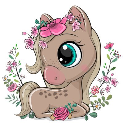 Poster Cartoon Horse with flowers on a white background