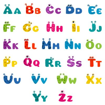 Poster cartoon monster alphabet