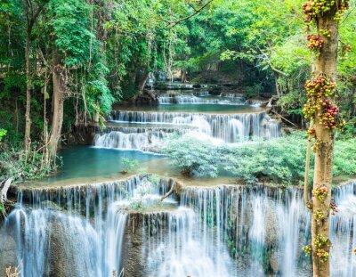 Poster Cascata foresta profonda a Huay Mae Kamin, Kanchanaburi, in Thailandia