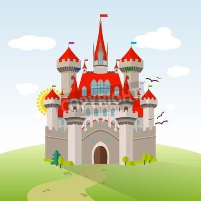 Poster Castello di fiaba. Illustrazione del figlio di immaginazione vettoriale. Paesaggio piatto con alberi verdi, erba, sentiero, pietre e nuvole