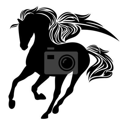 Cavallo Alato Pegaso Disegno In Bianco E Nero Vettore Manifesti Da