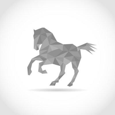Poster cavallo in stile poligono. design a basso poli in triangoli