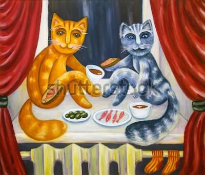 Poster Cena romantica per gatti. Un gatto e una gatta mangiano insieme sul davanzale della finestra. Animali domestici all'interno dell'appartamento. Pittura ad olio. Opere d'arte fatte a mano.