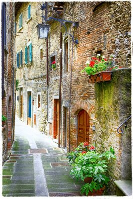 Poster charming old streets of medieval towns of Italy