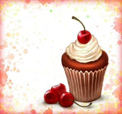 Poster Cherry Cupcake cioccolato su sfondo acquerello