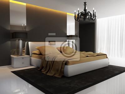 Chic oro hotel di lusso, nero, camera da letto, lampadario ...