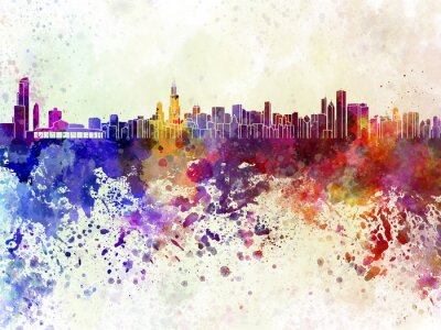 Poster Chicago skyline in sfondo acquerello