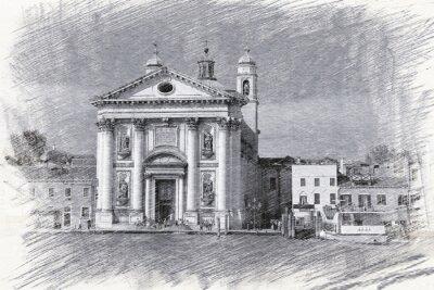 Poster Chiesa di Santa Maria del Rosario in Italia, Venezia. Schizzo