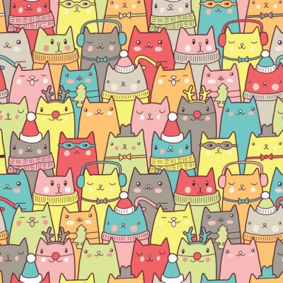 Poster Christmas cats seamless pattern