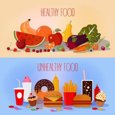 Poster Cibo sano e malsano Fast Food