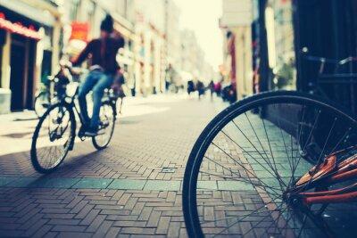 Poster Ciclismo in Amsterdam al tramonto
