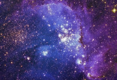 Poster cielo notturno con le stelle di sfondo nuvole nebulosa. Colorful frattale vernice, si illumina in tema di arte, astratto, la creatività. Planet e Galaxy in uno spazio libero. Elementi di questa immagi