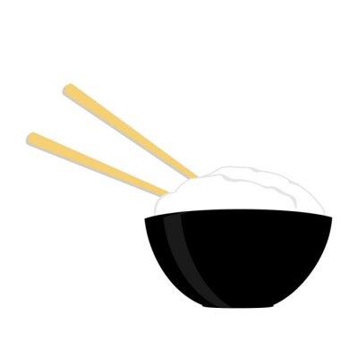 Poster ciotola di riso con due bacchette