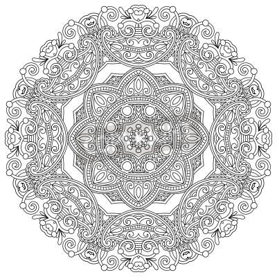 Poster Circle ornamento, pizzo nero e bianco ornamentale rotondo