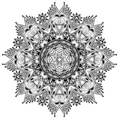 Poster Circle pizzo ornamentale, rotonda ornamento centrino geometrico, bianco e nero collezione