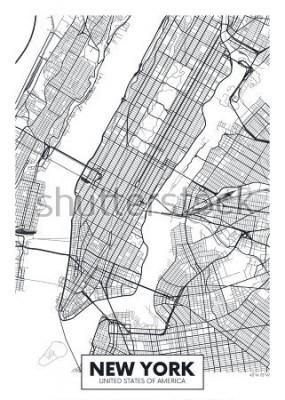 Poster Città della mappa del manifesto di vettore di New York