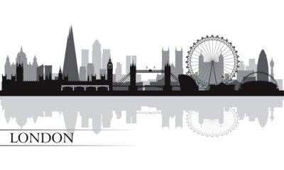 Poster Città di Londra skyline silhouette sfondo