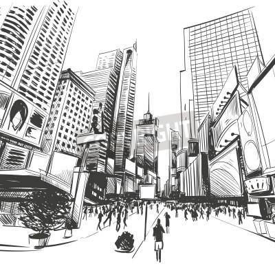 Poster Città mano disegnato, illustrazione vettoriale