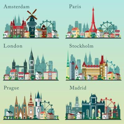 Poster Città skylines set. Paesaggi pianeggianti vettore. Città europee cityscapes