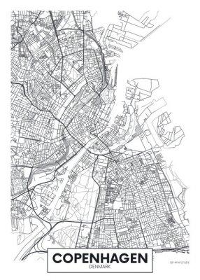 Poster City map Copenhagen, travel vector poster design
