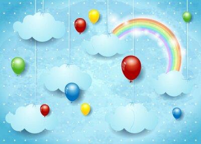 Poster Cloudscape surreale con palloncini colorati
