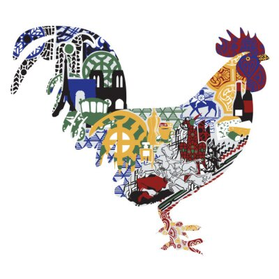 Poster Cock with patterns francs