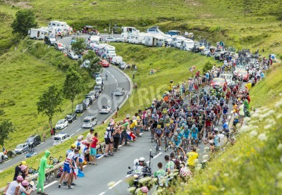 Poster Col de Peyresourde,France- July 23, 2014  The peloton climbing the road to Col de Peyresourde in Pyrenees Mountains during the stage 17 of  Le Tour de France on 23 July 2014