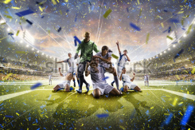 Poster Collage adult soccer players in action on stadium panorama