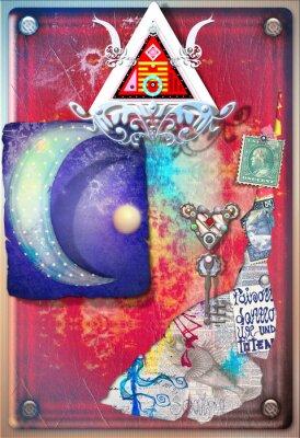 Poster collage con colorate, ritagli alchemiche, luna stellata e