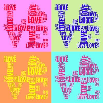Poster Collage di parole colorate in stile pop art dell'annata nube AMORE