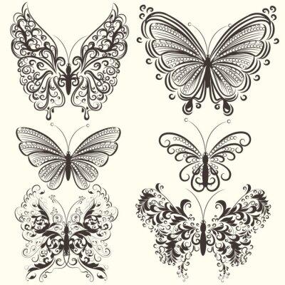 Poster Collezione di astratto farfalle vettore turbolenza per la progettazione