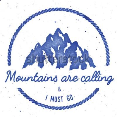 Poster Collezione di badge per insegne di avventura e spedizione in montagna. Logo per spedizioni all'aperto. Stampa t-shirt stampata arrampicata. Eminente illustrazione vettoriale ad acquerello.