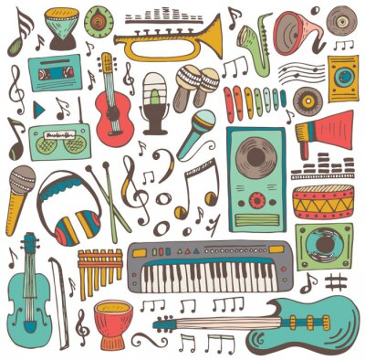 Poster collezione Doodle di musica