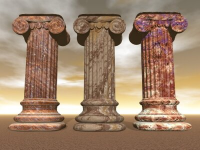 Poster Colonne di pietra - rendering 3D