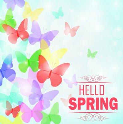 Poster Colorato farfalle Sfondo con il testo Ciao primavera