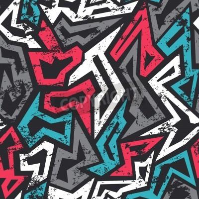 Poster colorato graffiti seamless con effetto grunge